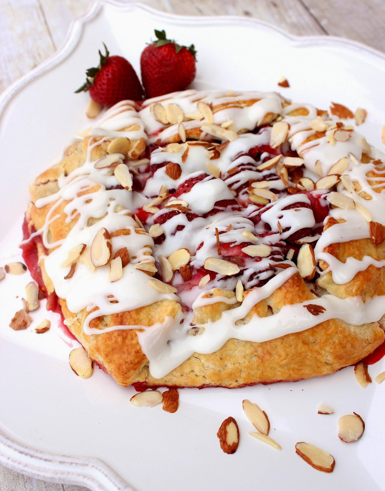Strawberry Crostata with Sweet Almond Glaze Recipe via Kudos Kitchen By Renee