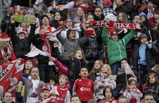 Some of the 22,000 children attend the replay of the Dutch Cup match between Ajax and AZ Alkmaar