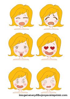 llorar, mareada, enamorada Caras con emociones para imprimir