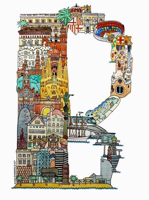 02-B-Barcelona-Spain-Hugo-Yoshikawa-Illustrated-Architectural-Alphabet-City-Typography-www-designstack-co