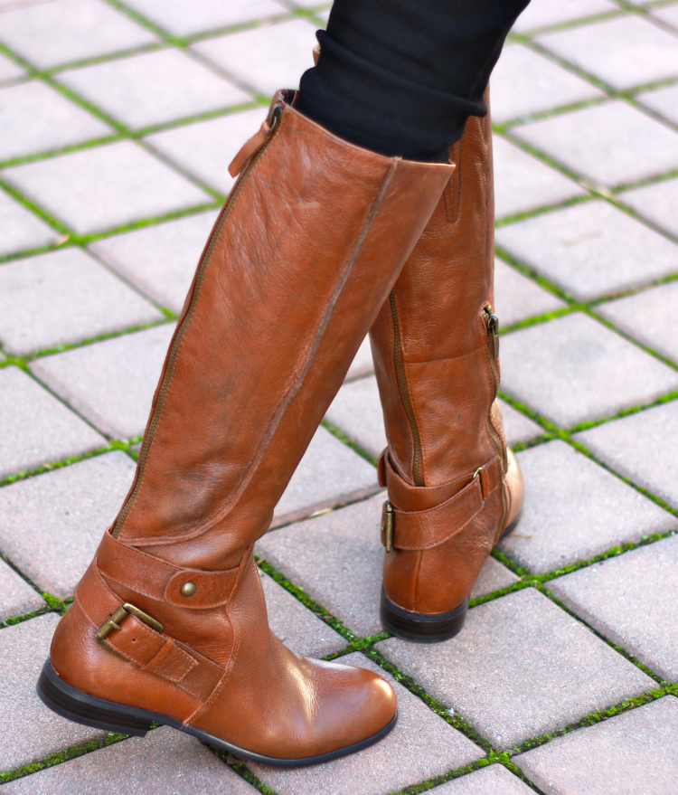 flat tan boots buckles