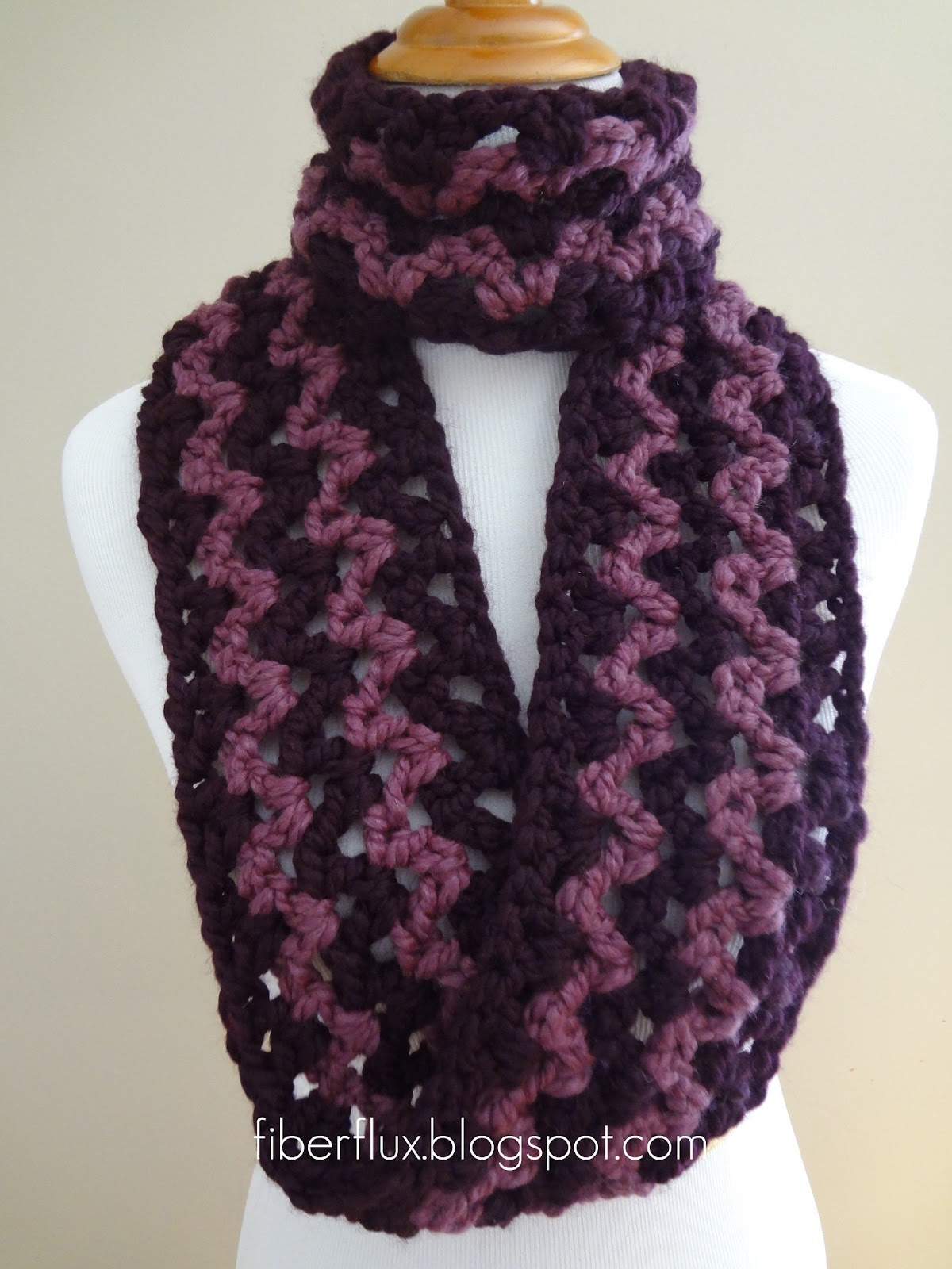 Free Crochet Patterns For An Infinity Scarf : Fiber Flux: Free Crochet Pattern...Pinot Noir Infinity Scarf