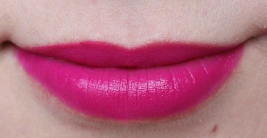 matte bright pink lipstick