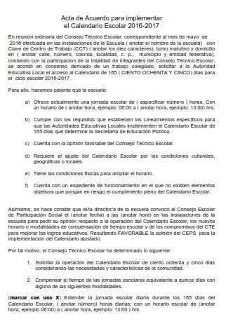FORMATO ACTA PARA LAS ESCUELAS QUE OPTEN POR 185 DÍAS DE CALENDARIO ESCOLAR