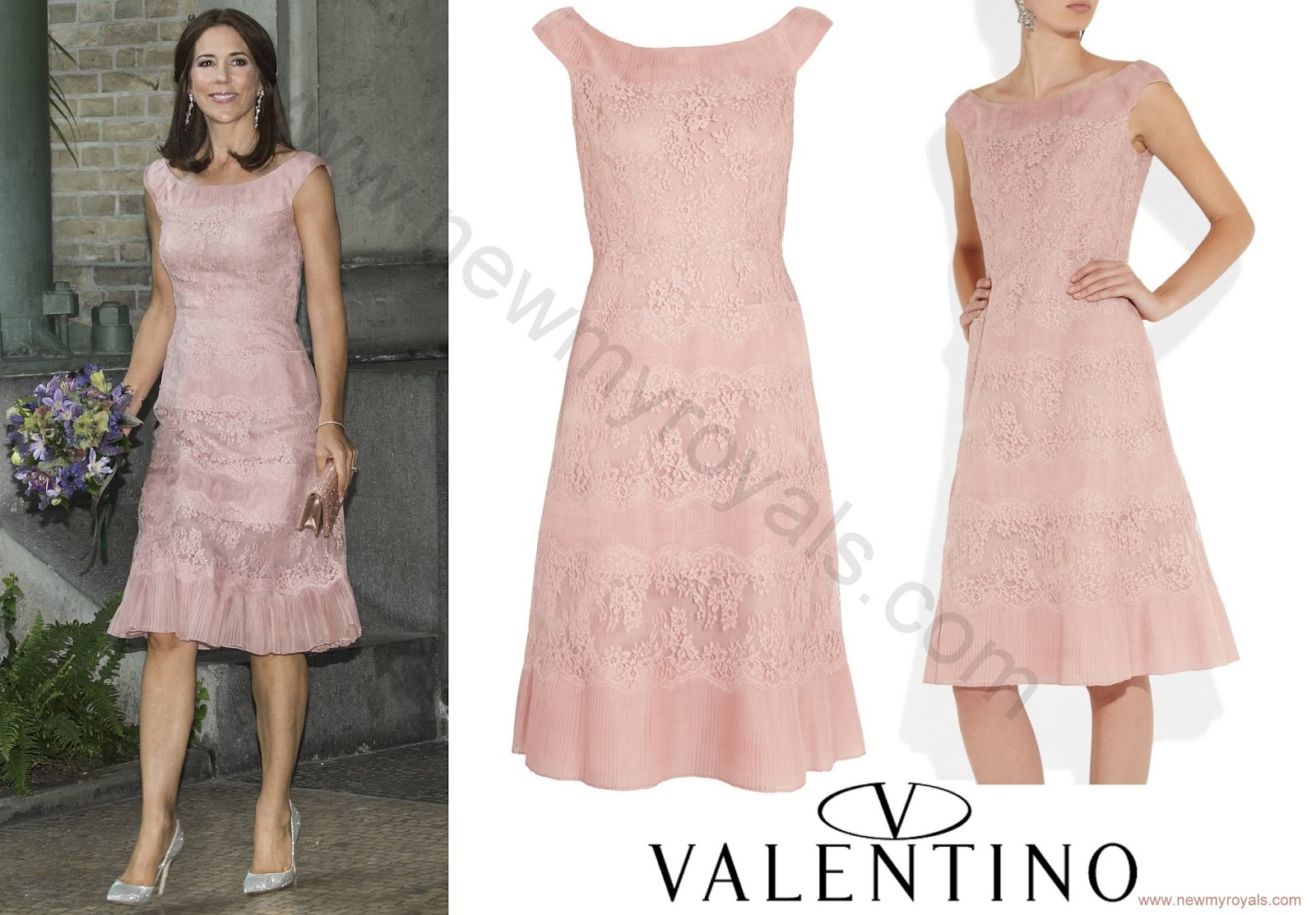 Princess Mary in Valentino Lace & Pleated Silk Dress | Newmyroyals ...
