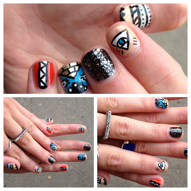 Nail art, nails, aztec, evil eye, pyramid