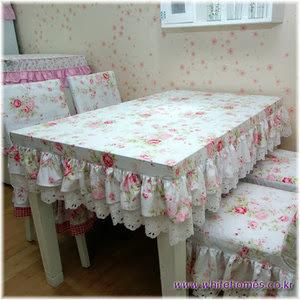 toalha de mesa com babado capa de cadeira com babado