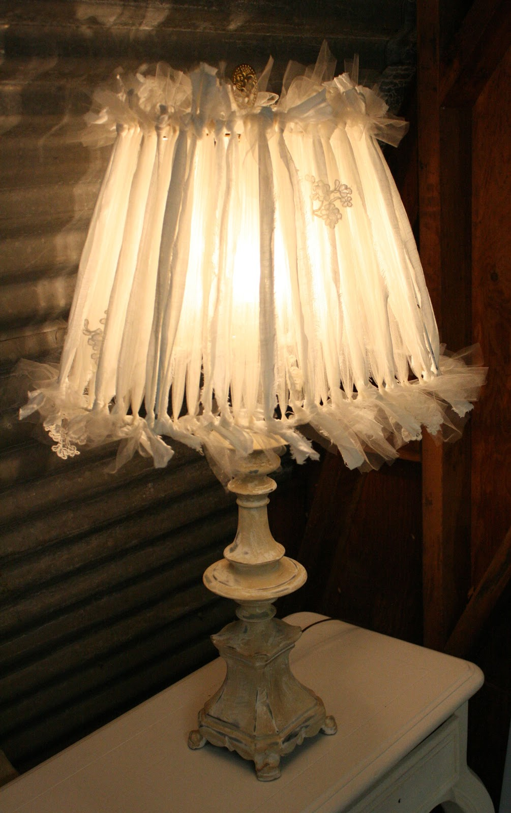 Reloved rubbish linen and tulle lampshade linen and tulle lampshade greentooth Choice Image