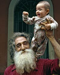 old man holding a baby; jonathan gash; prey dancing
