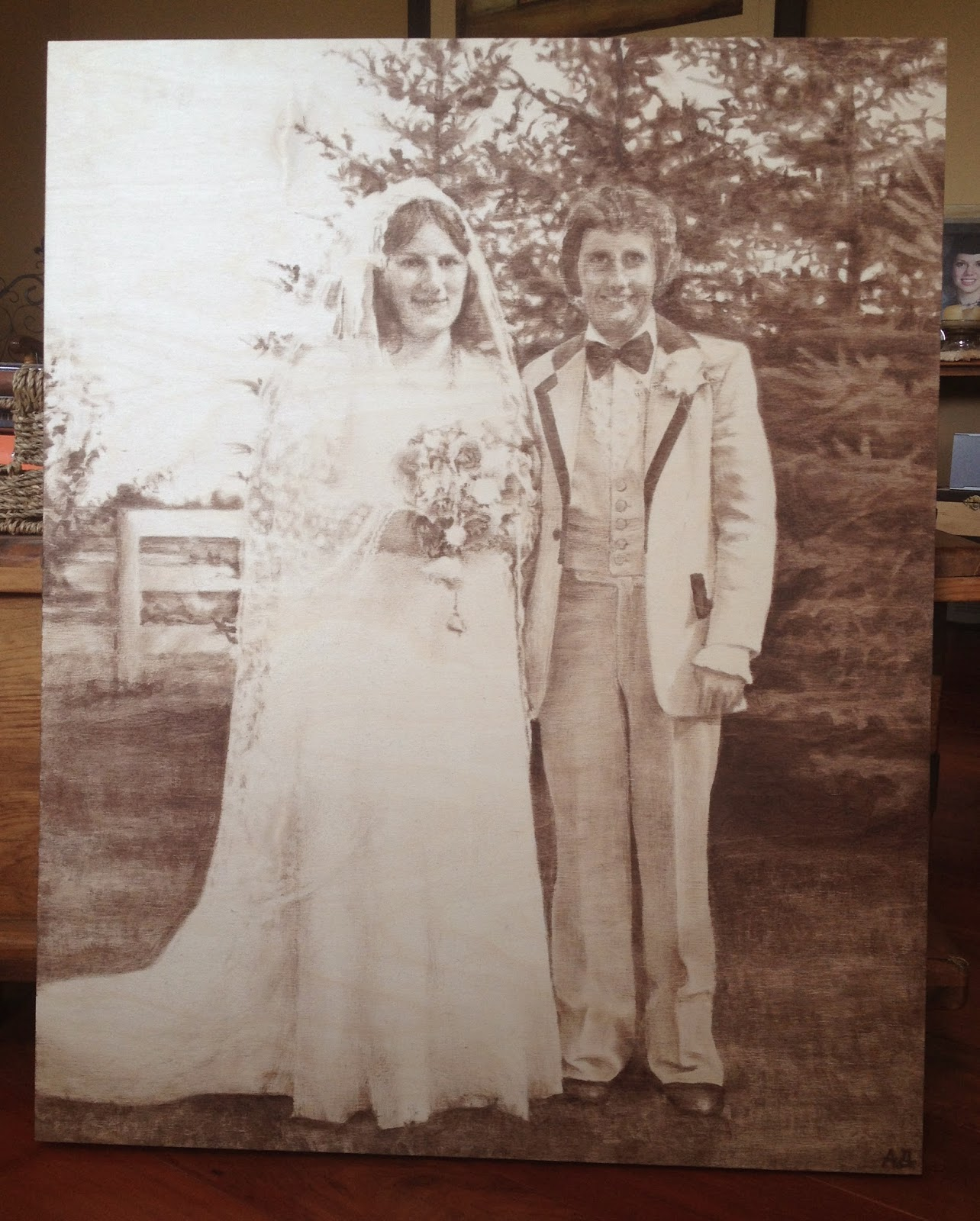 Painting, Wood stain, old photo, wedding, commission