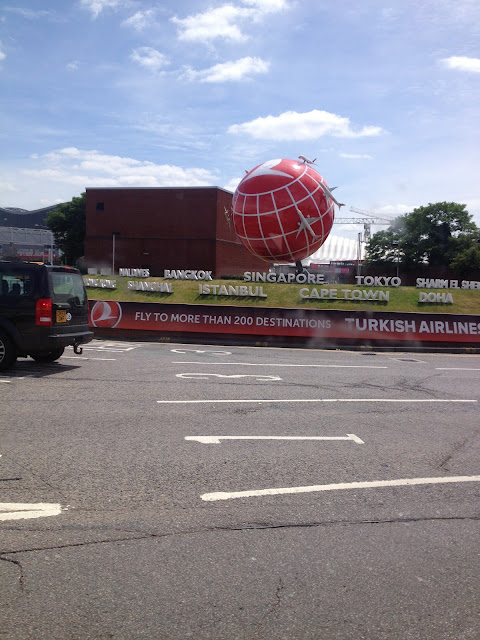 Red Globe with Aeroplanes and Worldwide Destination Names