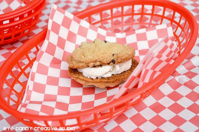 mini ice cream sandwich, scoop ice cream, cookies, picnic basket