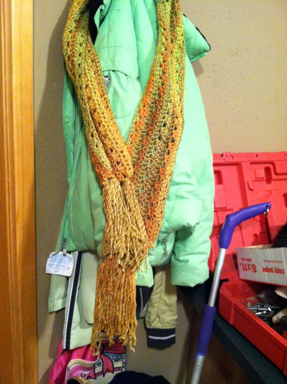 s passions afghan turned scarf and caramel corn