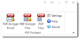 "Outlook toolbar buttons for PDF Postman add-in. Options shown are ""PDF Encrypt Email,"" ""PDF Encrypt Files,' and ""PDF Files."" Other options include Settings, Help and About."