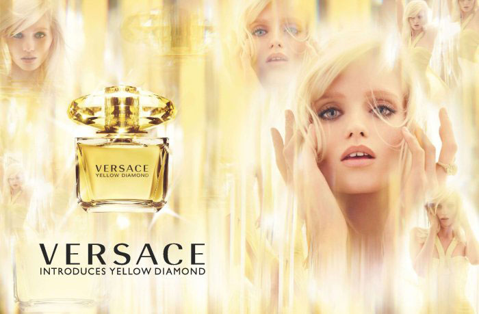 Abbey Lee Kershaw in Versace Yellow Diamond perfume campaign (photography: Mario Testino, styling: Joe McKenna)