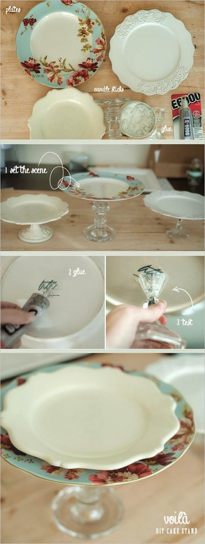 base para tarta hecha con platos y candelabro vidrio