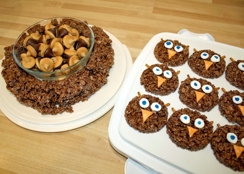 """We were in charge of snacks. I had planned on simply taking Rice Krispie treats with decorative sprinkles on top, but then I made the """"mistake"""" of taking a peek at Pinterest. Twenty-five dollars and four hours later, we ended up with Owl Krispies and a nest of Chocolate Peanut Butter Acorns. Ah, well...the girls loved them."""