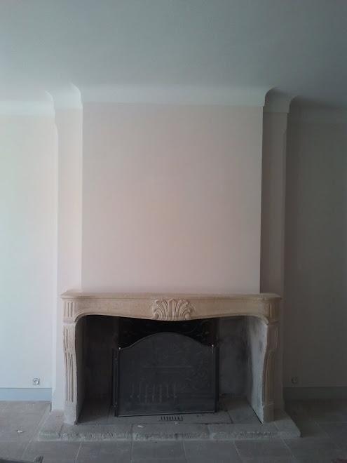 Plâtre sur cape de cheminée