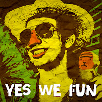 YES WE FUN, jugodemono, green yellow brown, amarillo verde marron