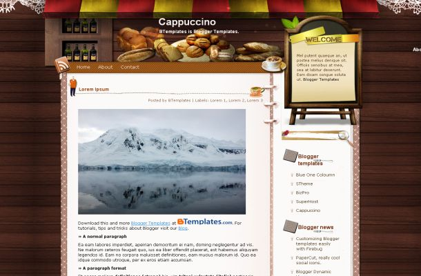 Free Blogger Coffee Wooden Jquery Theme Template