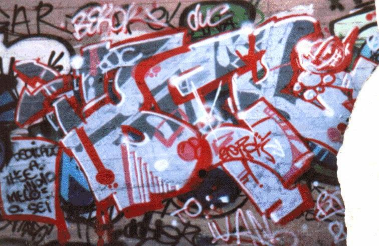 Mi primer graffiti dedicado a The Cesart , Indio, Melo y Sei en la Torrassa , Hospitalet de Llobregat