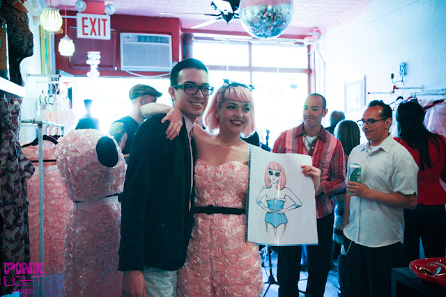Kenley Collins from Project Runway poses in Slapback with jetzain for her pink lady party