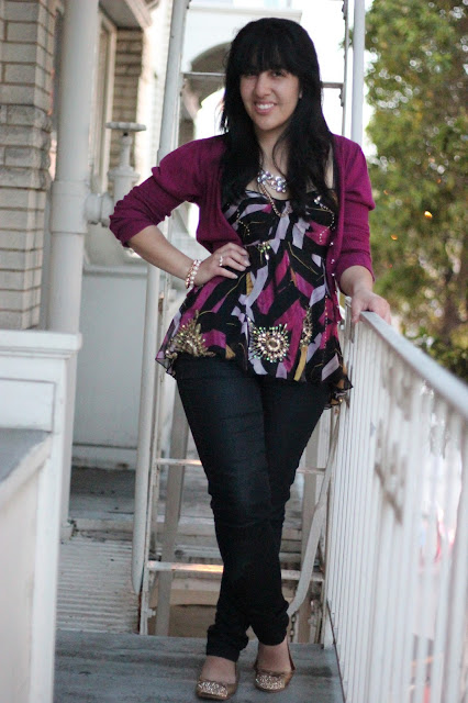 DVF Top, Cardigan and Jeans