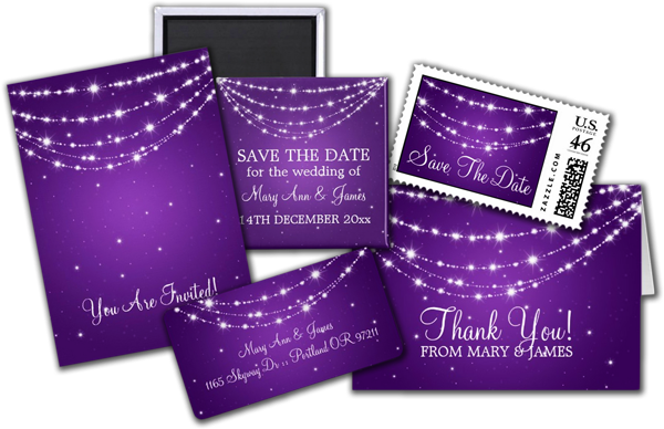 Elegant Wedding Sparkling Chain Purple Invitations