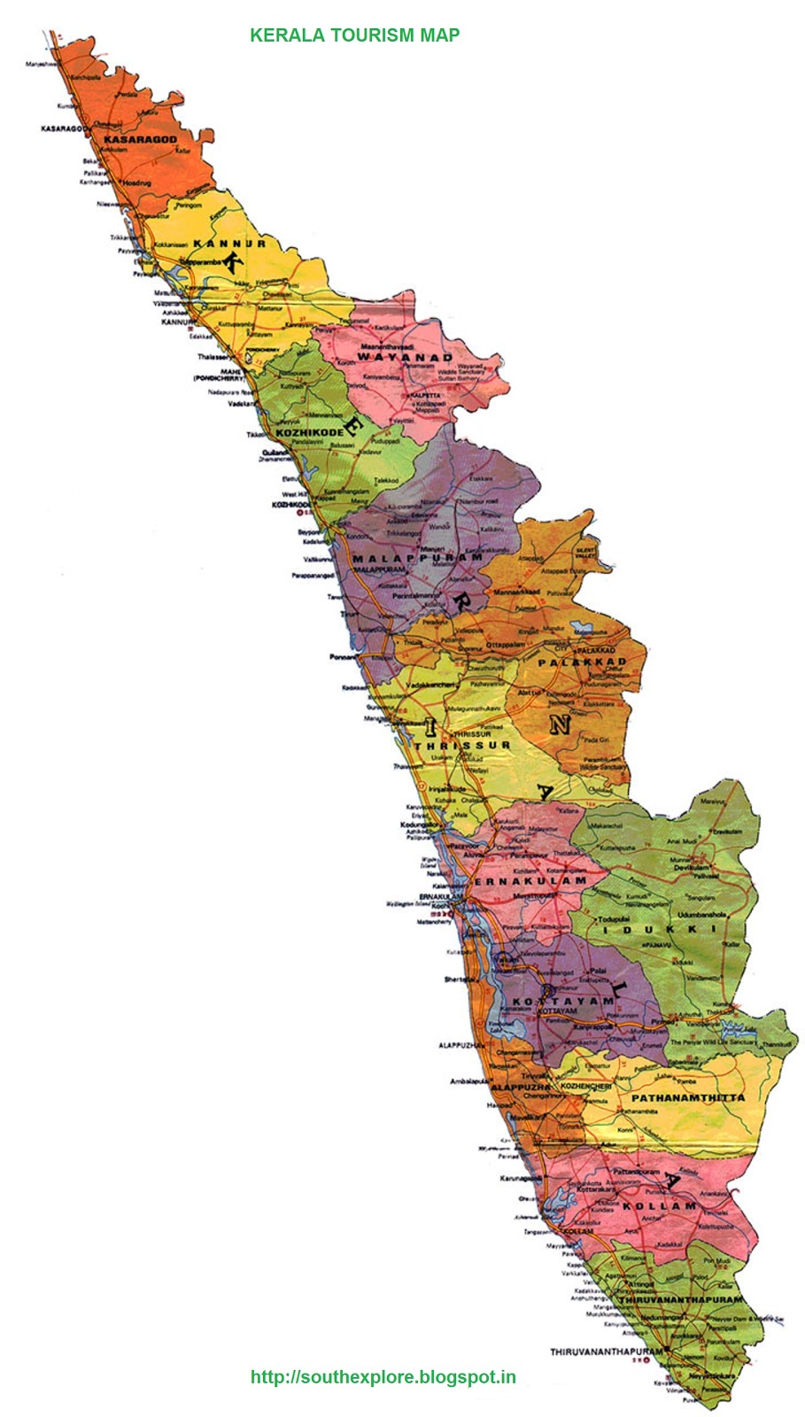 KERALA TOURISM MAP TOURIST PLACES IN KERALA SOUTH INDIA TOURISM – Tourist Map of Kerala