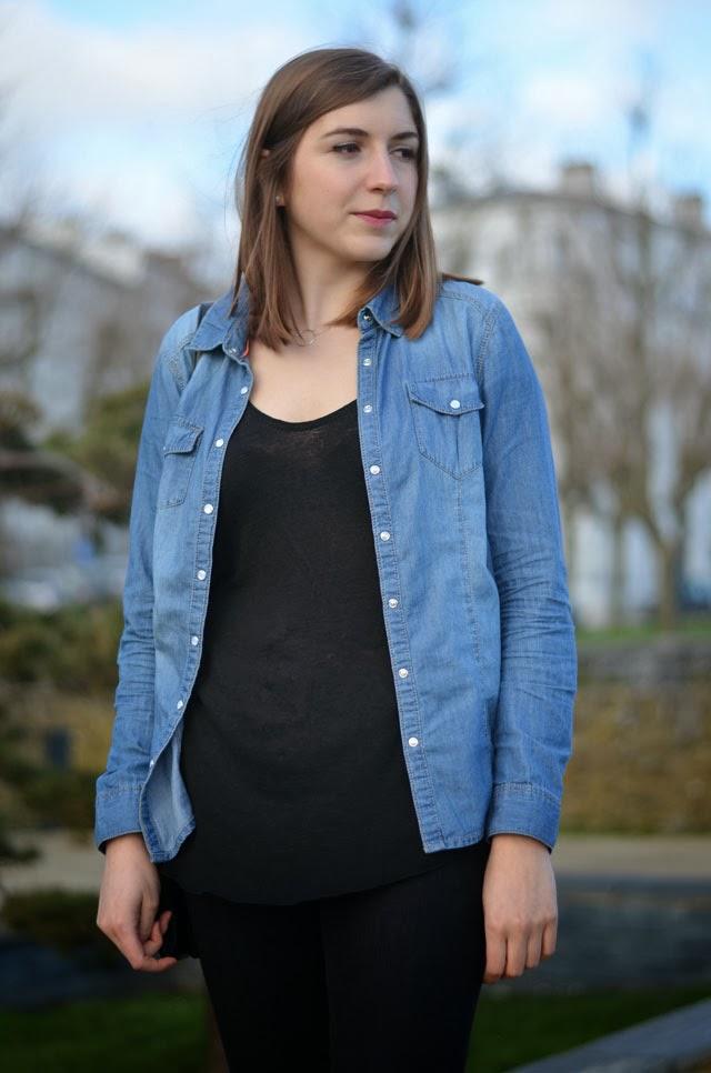 chemise en jean cache cache look noir