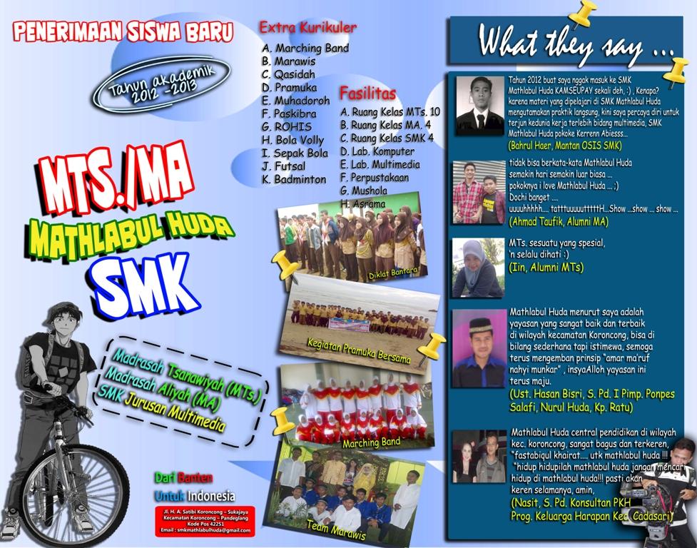 Contoh Brosur Yayasan SMK, MTs. MA