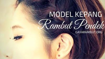 model gaya kepang rambut pendek wanita