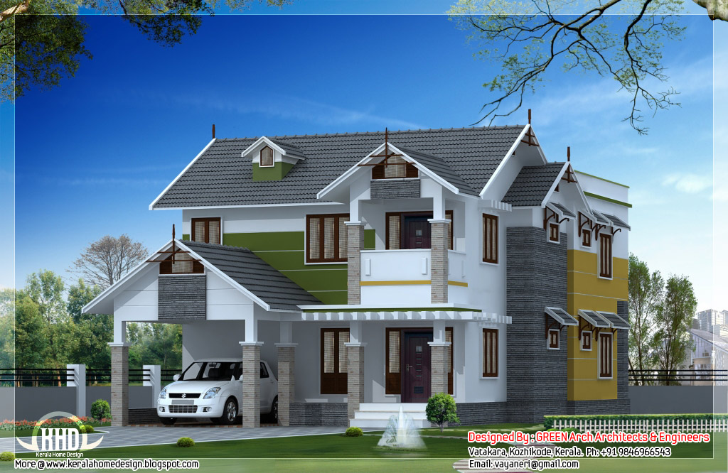 Beautiful sloping roof house design kerala home design for Sloped roof house plans in india