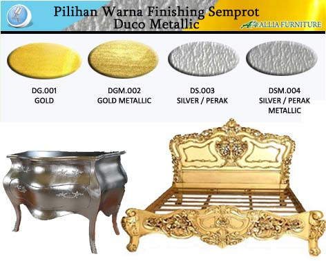 Contoh Furniture Finishing Cat Duco Emas & Perak