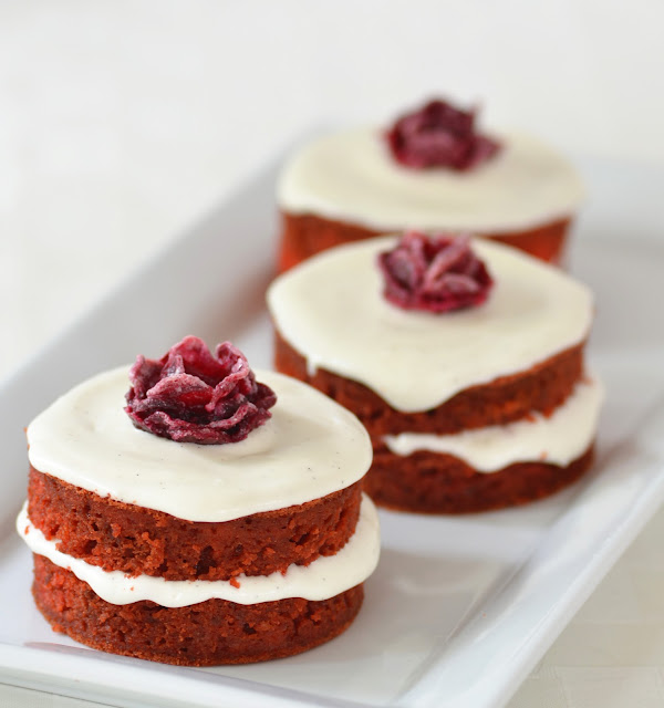 Beet Mini Cakes with Sour Cream Frosting and Beet Roses