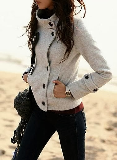 High collar ladies jacket