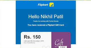 PocketBounty App Flipkart Gift card proof