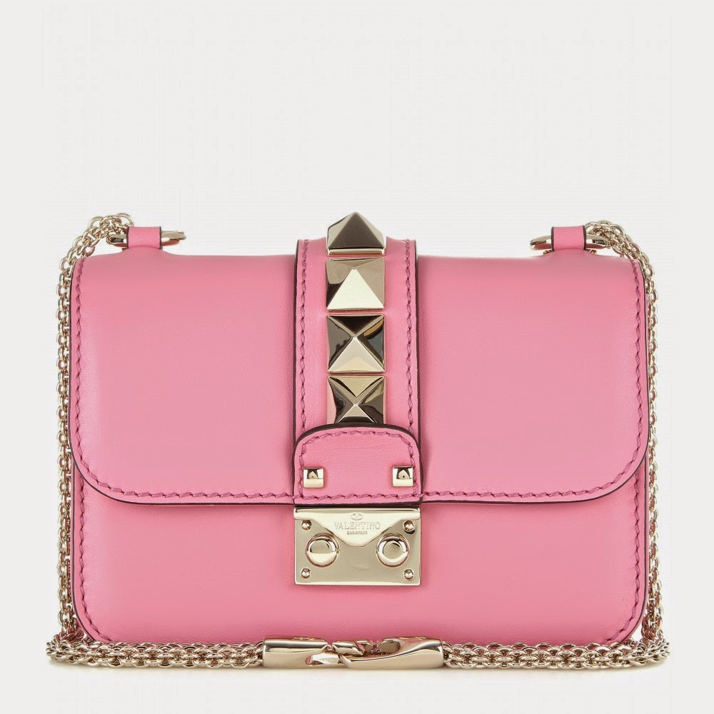 Valentino Lock Mini Pink Leather Shoulder Bag