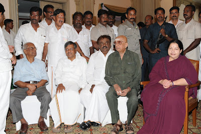 Tamilnadu CM Jayalalitha and Vijayakanth at Winning Celebration