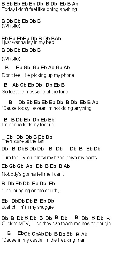 Online Chords The Lazy Song Bruno Mars
