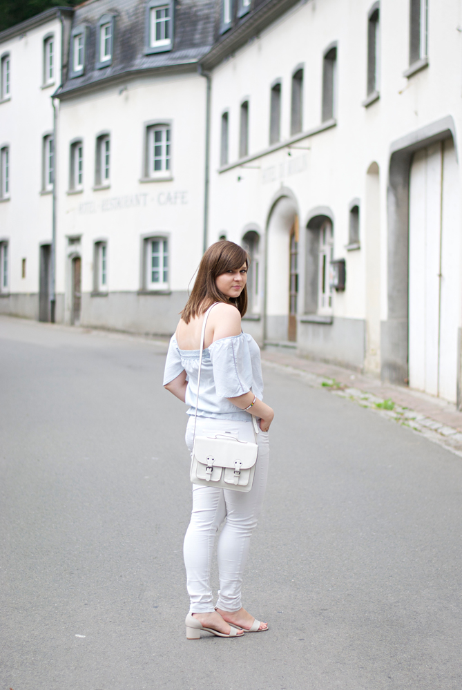 off-the-shoulder top white pants