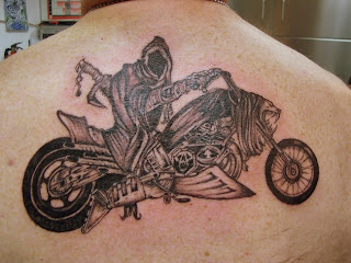 Ghost Rider Tattoo Design on Guys Upper Back