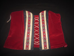 Red Bustier with Indigenized fabric and gold threads (Front)