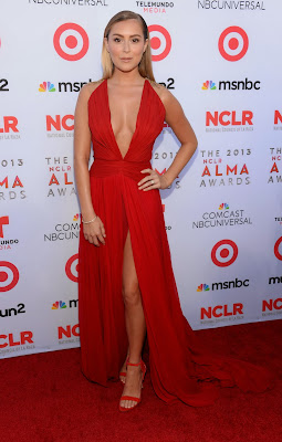 Alexa Vega show off her cleavage when arrives at the 2013 NCLR ALMA Awards