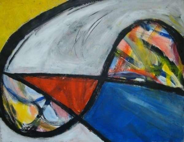 Cuadro titulado ilusión, negros, azules, rojos y blanco