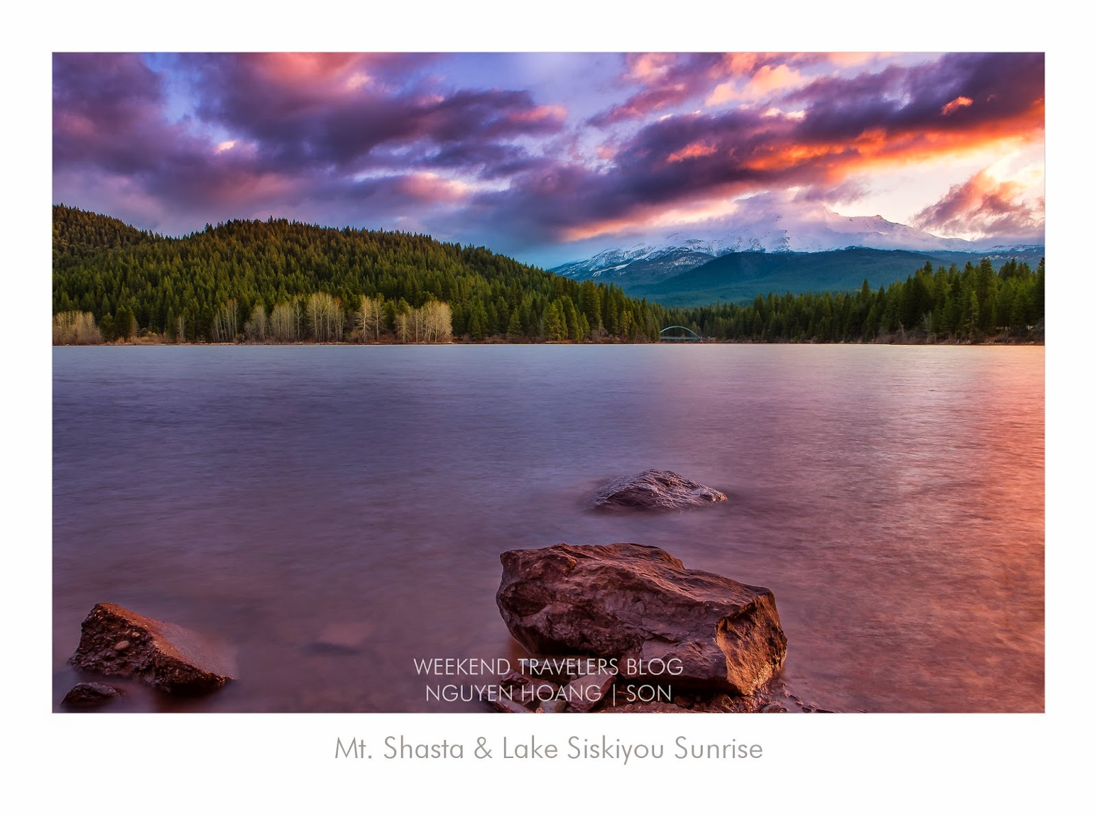 Sunrise on Mt. Shasta and Lake Siskiyou - Shasta Cascade, Northern California