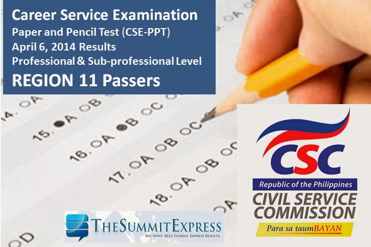 April 2014 Civil Service Exam Results Region 11 Passers