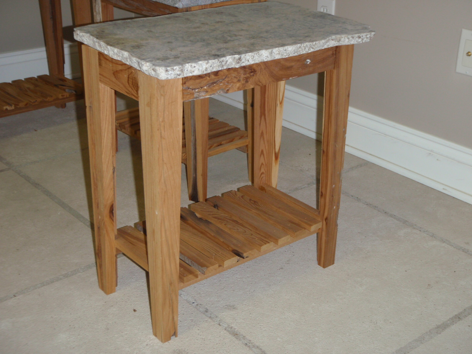 Gifts and designs granite tables hand made with reclaimed lumber