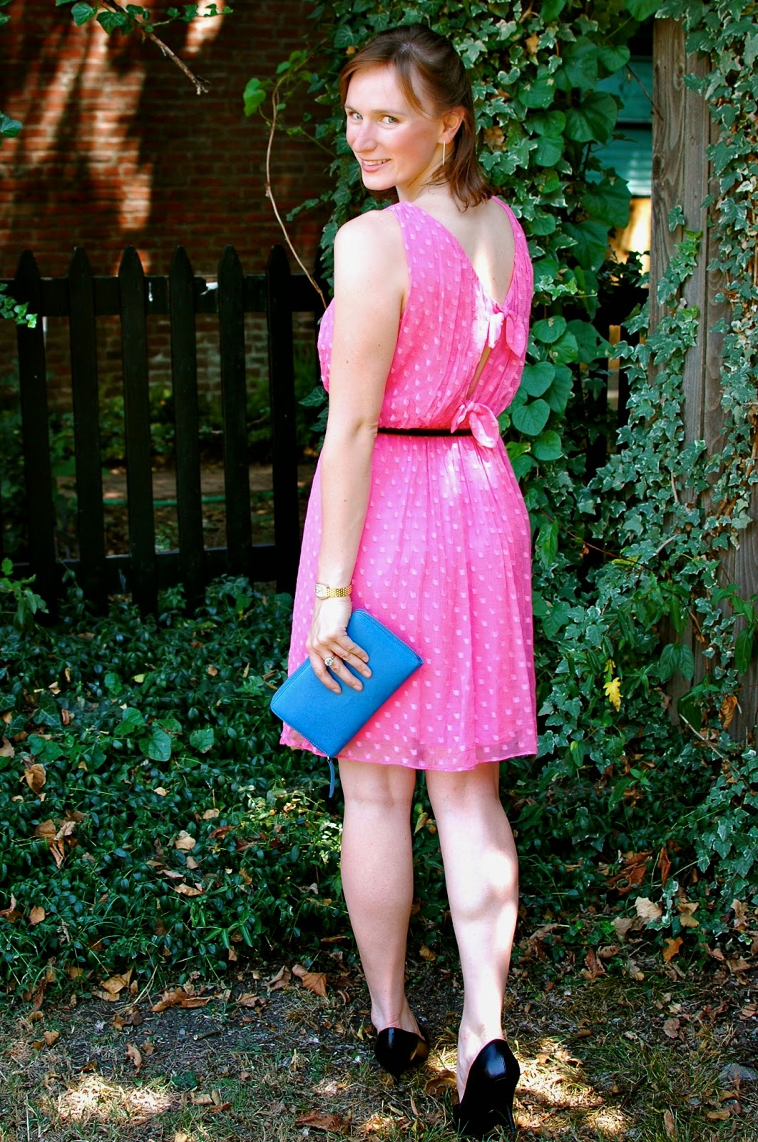 Pink Dress, Cobalt Clutch, Michele Watch, Raybans