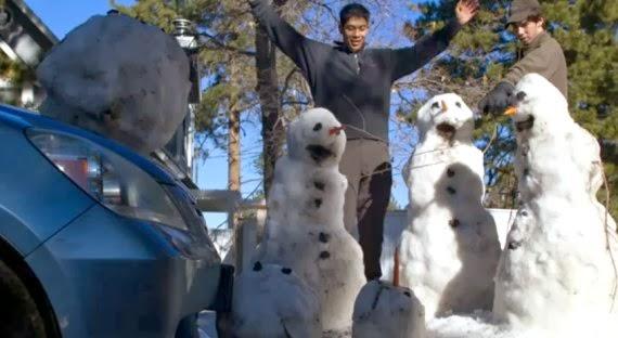 A shocking snowman hit-and-run.